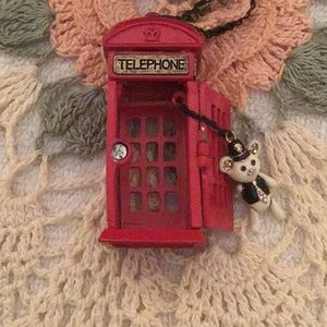 Vintage Betsy Johnson Telephone Booth Necklace